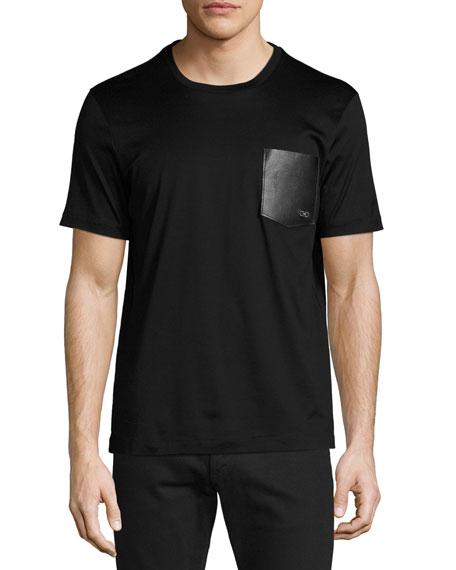 Men's Gancini Leather-Pocket T-Shirt, Black