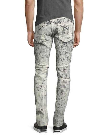 Demon Exobiology Heavy Painted Moto Slim-Straight Jeans, White
