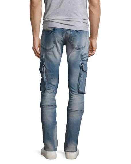 Windsor Skinny Moto Cargo Jeans with Paint, Climate (Indigo)