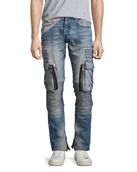 Windsor Skinny Moto Cargo Jeans with Paint, Climate (Indigo)