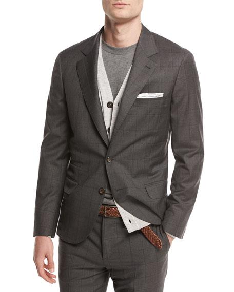 Brunello Cucinelli Windowpane Check Two-Piece Suit, Medium Gray