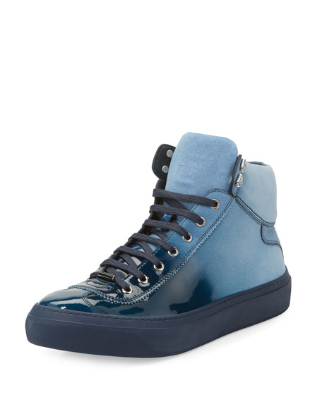 Argyle Men's Lacquered Suede Dégradé High-Top Sneakers, Blue
