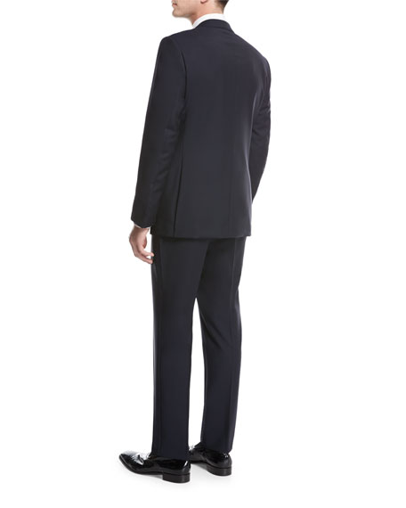 Peak-Lapel Two-Piece Tuxedo Suit, Navy