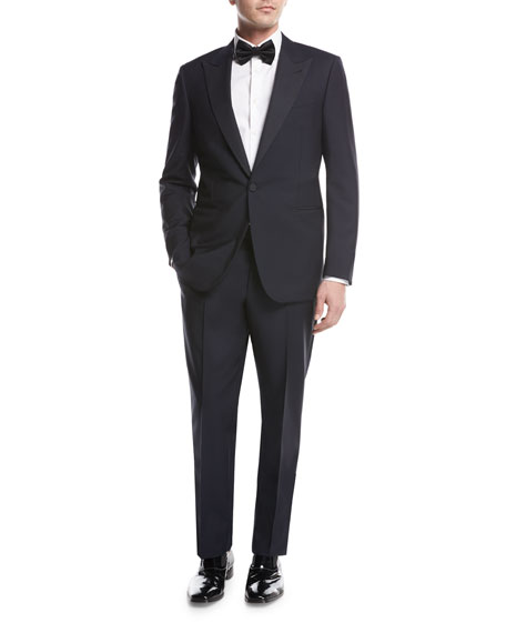 Ermenegildo Zegna Peak-Lapel Two-Piece Tuxedo Suit, Navy