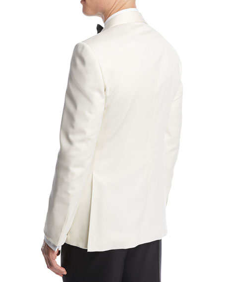 Satin-Collar Dinner Jacket, White