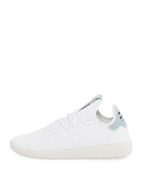 x Pharrell Williams Men's Hu Race Tennis Sneaker, White/Seafoam