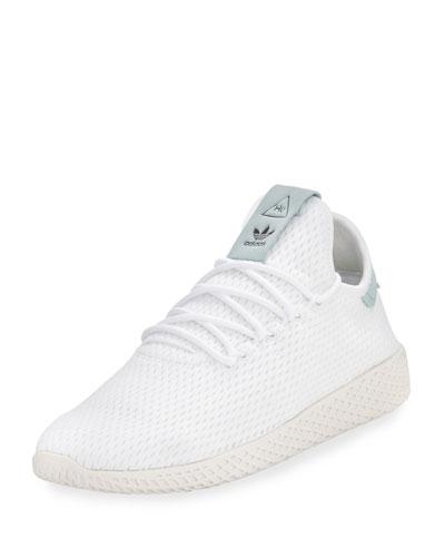 x Pharrell Williams Men's Hu Race Tennis Sneaker, White/Seafoam