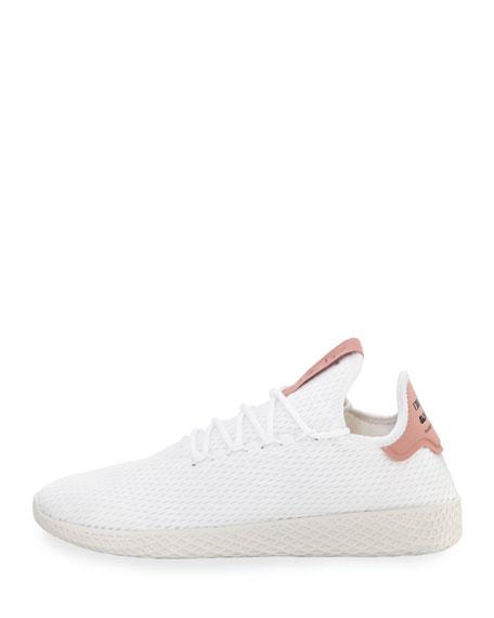 x Pharrell Williams Men's Hu Race Tennis Sneaker, White/Pink