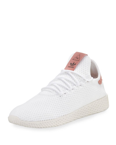 x Pharrell Williams Men's Hu Race Tennis Sneaker, White/Pink
