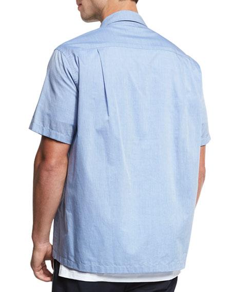 Cabana Italian Cotton Short-Sleeve Shirt, Vintage Blue