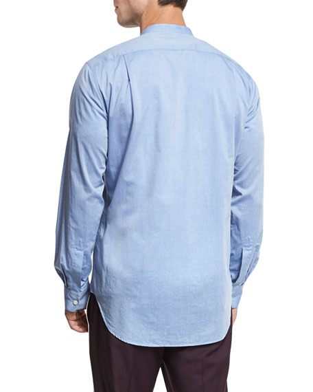 Band-Collar Cotton Shirt