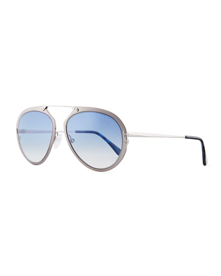 TOM FORD Dashel Aviator Sunglasses, Silver/Blue