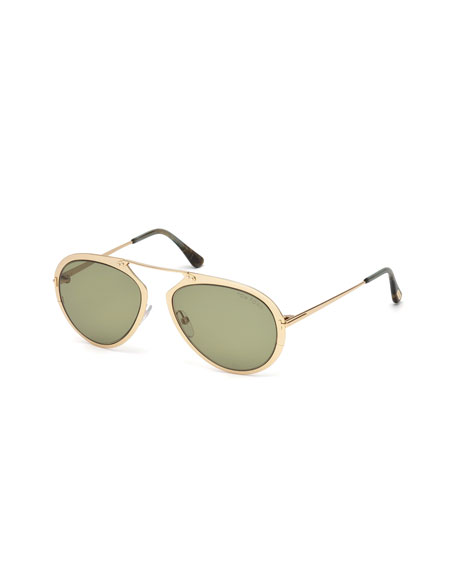 Dashel Aviator Sunglasses, Gold/Green
