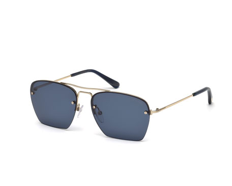 Walker Rimless Sunglasses, Rose Gold/Blue
