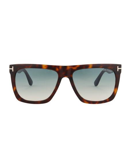 Morgan Thick Square Acetate Sunglasses, Tortoiseshell