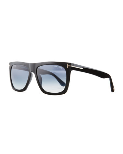 Morgan Thick Square Acetate Sunglasses, Black