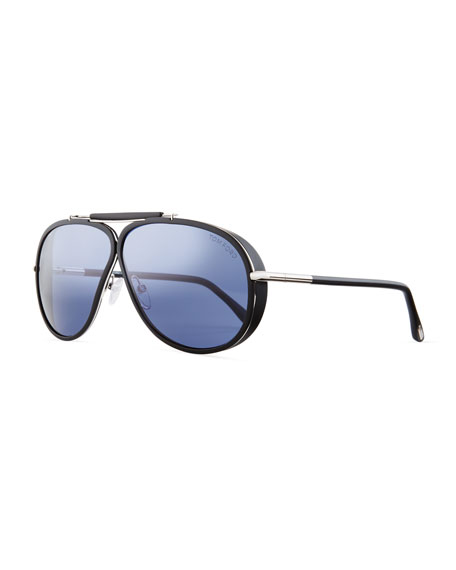 TOM FORD Cedric Acetate Aviator Sunglasses, Black