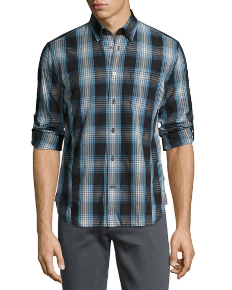 Mitchell Slim-Fit Scratch-Check Sport Shirt, Blue