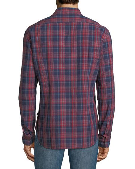 Mitchell Slim-Fit Plaid Short-Sleeve Shirt, Red