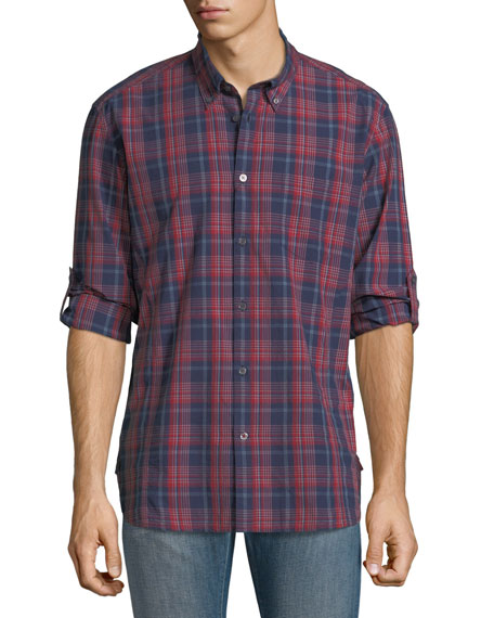John Varvatos Star USA Mitchell Slim-Fit Plaid Short-Sleeve