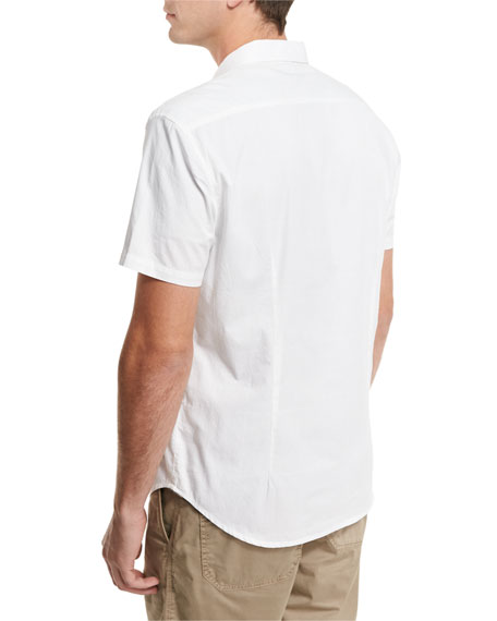 Grid-Stitch Short-Sleeve Snap Shirt, White