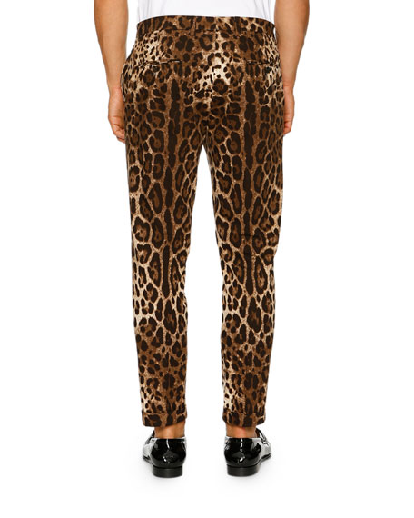 Leopard-Print Stretch-Cotton Trousers, Brown