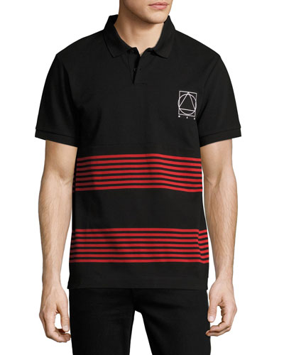 Striped Logo T-Shirt, Black/Red/Brown