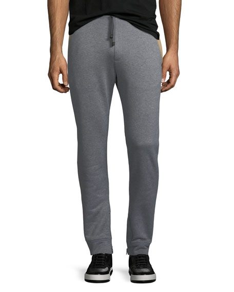 Heathered-Knit Cotton Sweatpants