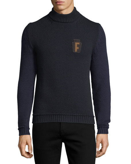 Salvatore Ferragamo Wool-Nylon Sweater with Logo Applique