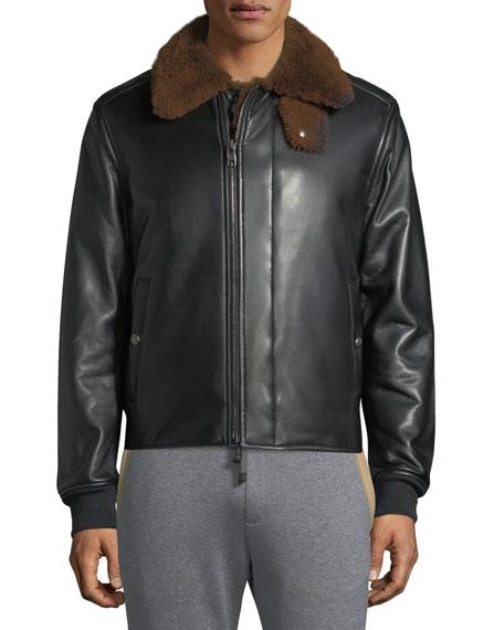 Shealing-Lined Lamb's Nappa Runway Bomber Jacket