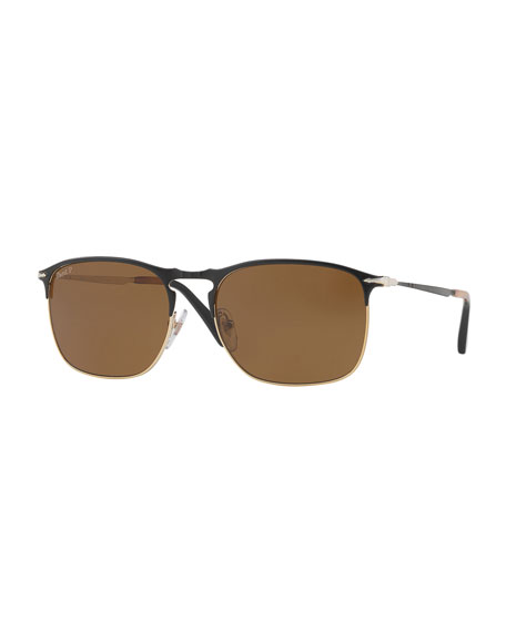 PO7359S Polarized Rectangular Sunglasses, Black