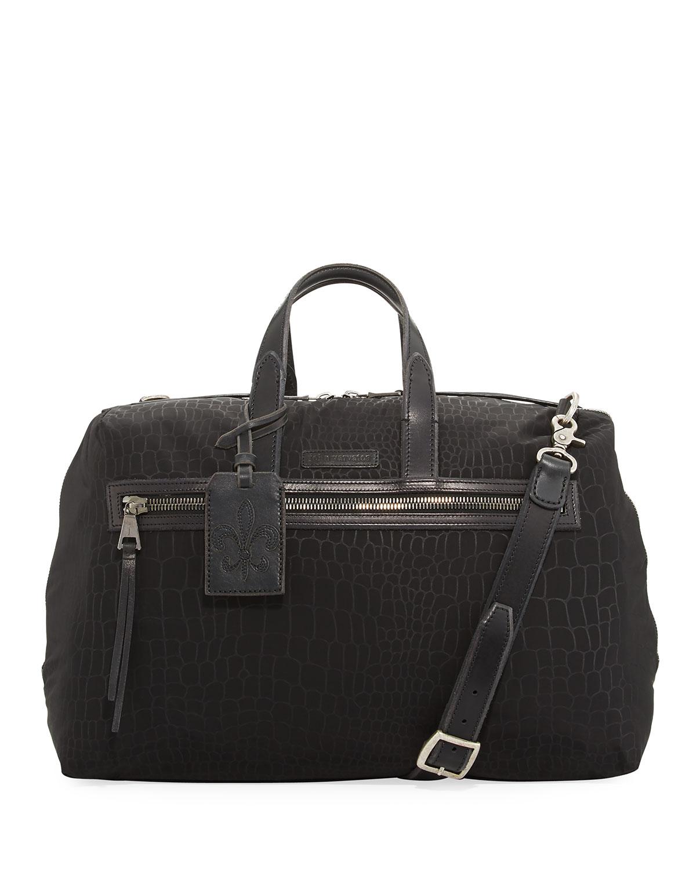 Croc Embossed Nylon Duffel Bag Black