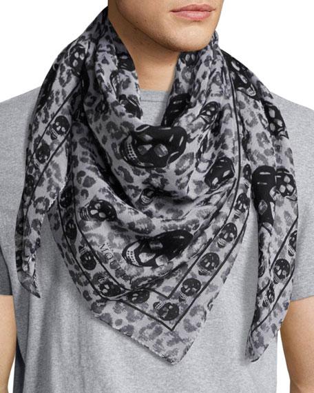 Alexander McQueen Skull Leopard Cotton-Modal Scarf, White/Black