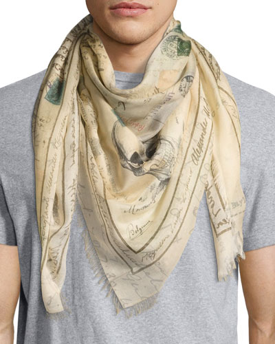 Letters from India Square Scarf, Light Brown