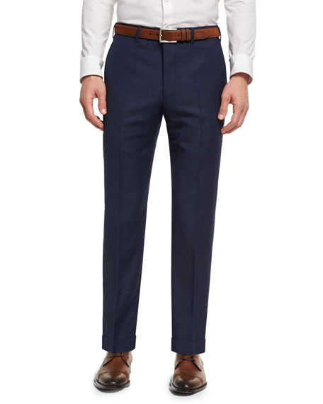 Soho Micro-Check Hopsack Wool Pants, Blue