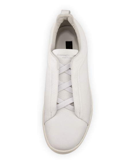 Couture Triple-Stitch Leather Low-Top Sneaker, White