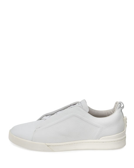 Men's Couture Triple-Stitch Leather Low-Top Sneakers, White