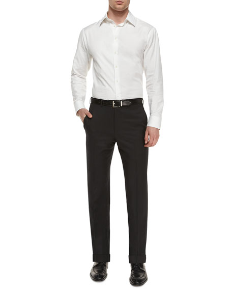 Image 2 of 3: Ermenegildo Zegna Flat-Front Wool Regular-Fit Trousers, Black