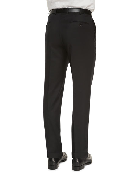 Image 3 of 3: Ermenegildo Zegna Flat-Front Wool Regular-Fit Trousers, Black