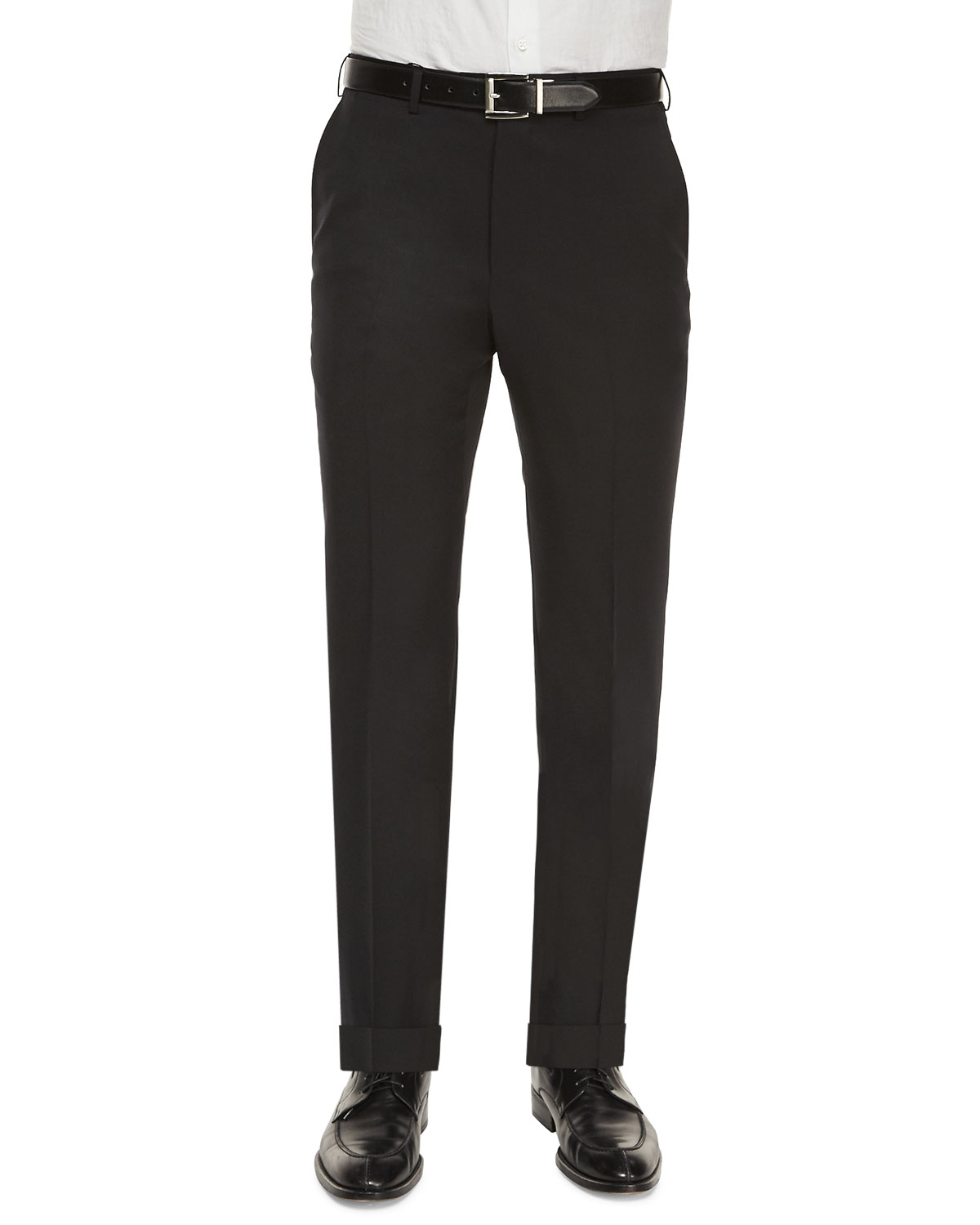 Ermenegildo Zegna Flat-Front Wool Regular-Fit Trousers, Black