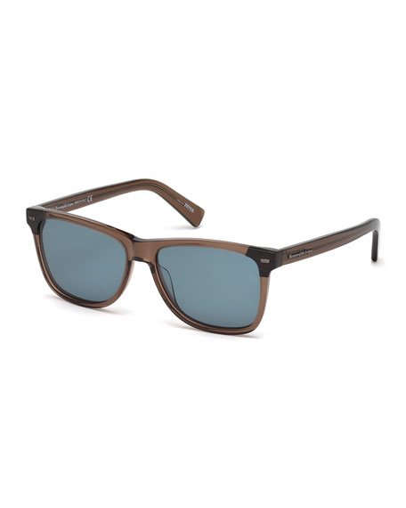 Ermenegildo Zegna Square Transparent Acetate Sunglasses