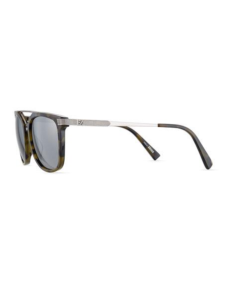 Acetate & Chevron Metal Rectangular Glasses, Green Tortoise/Silver