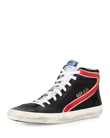 Golden Goose Men's GGDB-Slide Nylon High-Top Sneaker, Black