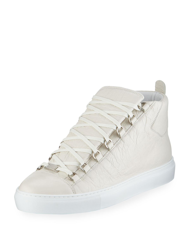 93907e2cfd0 Balenciaga Men's Arena Leather High-Top Sneaker, White | Neiman Marcus