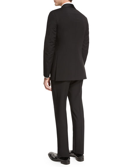 Satin Shawl-Collar Two-Piece Tuxedo Suit, Black