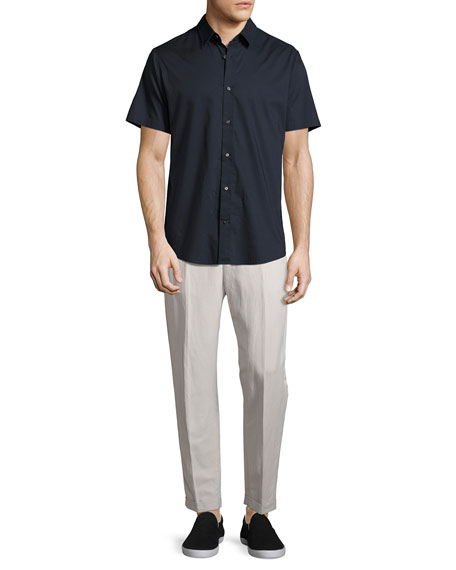 Relaxed Linen-Blend Cropped Trousers