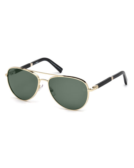 Ermenegildo Zegna Metal Aviator Sunglasses, Pale Gold/Black