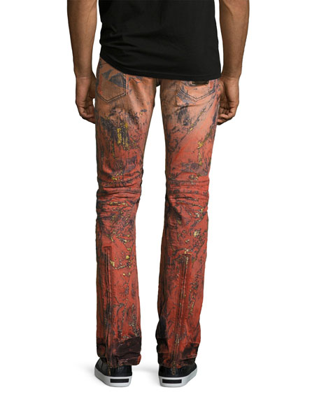 Vertical-Zip Painted Moto Jeans, Red