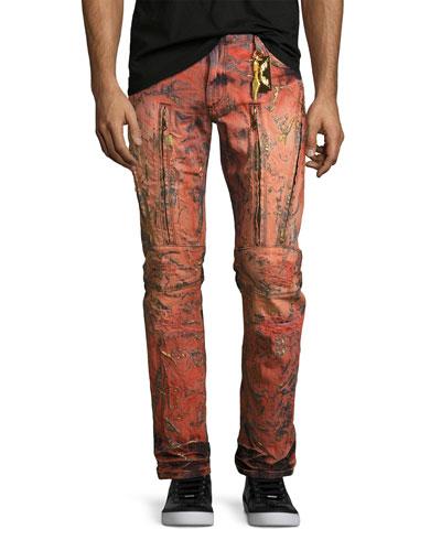 Vertical-Zip Painted Moto Jeans, Red