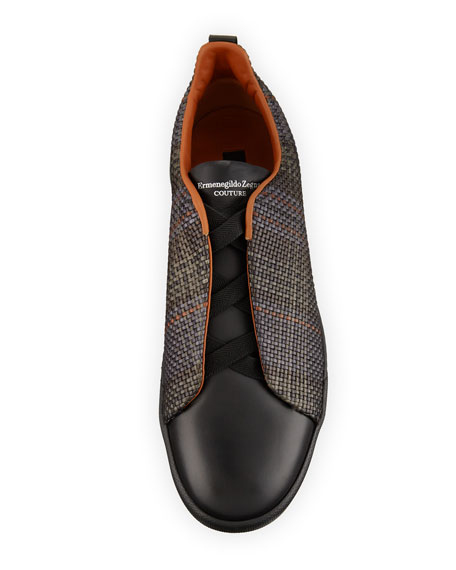 Men's Couture Pelle Tessuta Leather Triple-Stitch Sneakers